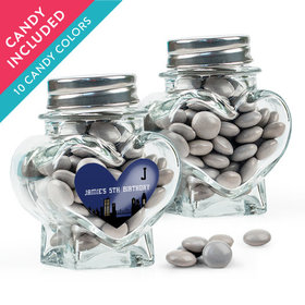 Personalized Kids Birthday Favor Assembled Heart Jar with Just Candy Milk Chocolate Minis