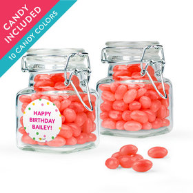Personalized Kids Birthday Favor Assembled Swing Top Square Jar with Just Candy Jelly Beans