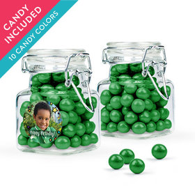 Personalized Kids Birthday Favor Assembled Swing Top Square Jar with Sixlets