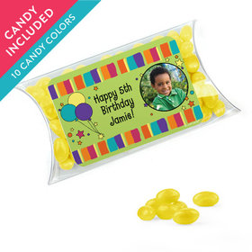 Personalized Kids Birthday Favor Assembled Pillow Box with Just Candy Jelly Beans
