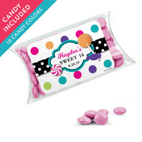Personalized Kids Birthday Favor Assembled Pillow Box with Just Candy Milk Chocolate Minis