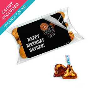 Personalized Kids Birthday Favor Assembled Pillow Box with Hershey's Kisses