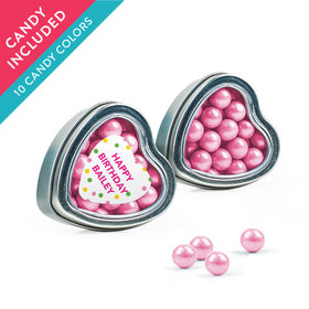 Personalized Kids Birthday Favor Assembled Heart Tin with Sixlets