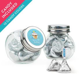Personalized Kids Birthday Favor Assembled Mini Side Jar with Hershey's Kisses