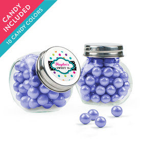 Personalized Kids Birthday Favor Assembled Mini Side Jar with Sixlets