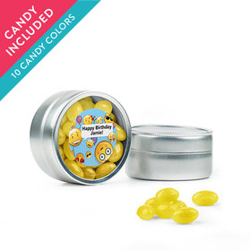 Personalized Kids Birthday Favor Assembled Mini Round Tin with Just Candy Jelly Beans