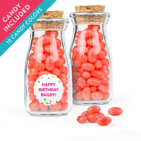 Personalized Kids Birthday Favor Assembled Glass Bottle with Cork Top with Just Candy Jelly Beans