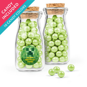 Personalized Kids Birthday Favor Assembled Glass Bottle with Cork Top with Sixlets